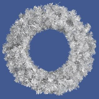 other items 24 silver tinsel artificial christmas wreath unlit