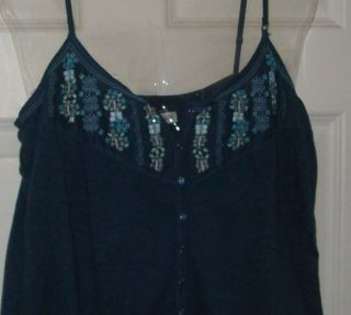 Gorgeous Womens Large G Aeropostale Blue Embroid Bead Flower Strap Top