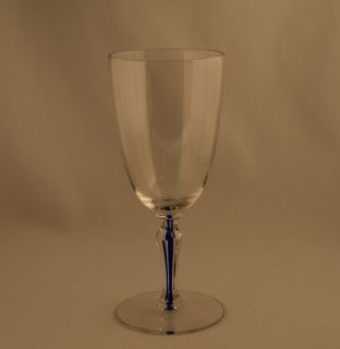 Glass Co Cobalt Blue Filament Wine Glasses Set 4 C 1930