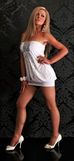 Sexy Dresses Hot Sequin Mini Clubbing Clubwear White Black Ball Gown