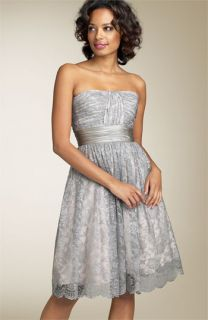 BCBGMAXAZRIA Strapless Metallic Lace Dress