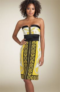 Nicole Miller Strapless Print Silk Sheath