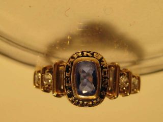 10K YELLOW GOLD CLASS RING BLUE SAPPHIRE CZ 1988 CLARKSTON HIGH NICE