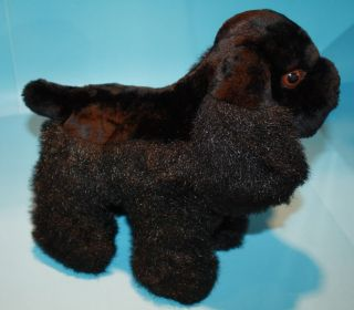 11 Jet Black Plush Cocker Spaniel Dog Stands Alone Brown Eyes No Tags