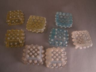 Early 8 SALT CELLARS Hobnail Opalescent FENTON GLASS MINT CON. Colored
