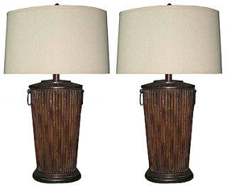 Colonial Island Winds Split Bamboo Table Lamp Set Beach Lake House