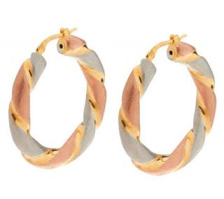Veronese 18K Clad 1 Tri Color Twisted Hoop Earrings   J275913