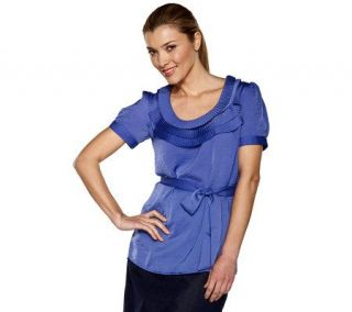 Isaac Mizrahi Live Short Sleeve Pleated Neckline Blouse —
