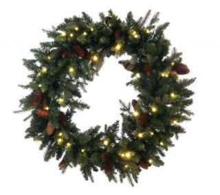 Bethlehem Lights Solutions 36 Wreath With Pinecones&Timer —