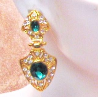 GOLD DOOR KNOCKER W/EMERALD GREEN & CLEAR CRYSTALS PIERCED EARRINGS