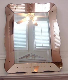 Antique Art Deco Colored Etched Glass Picture Frame Beveled Mirror