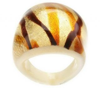 Bold Oval Murano Glass Ring w/ Colored Splatter Design —