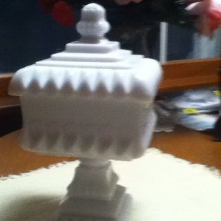 Westmoreland Milk Glass Covered Dish Candy Footed Compote Deco Vintage