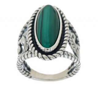 American West Bold Oval Malachite Sterling Ring —