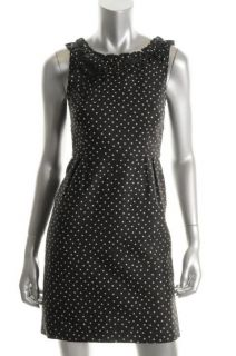 Kate Spade New Courtney Black Ivory Polka Dot Ruffled Trim Casual