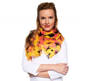 Isaac Mizrahi Live Anemone Printed Oblong Scarf with Fringe   A220858