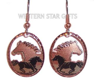 Horse Copper Earrings Silver Plated Handmade Western Cowgirl Jewelry