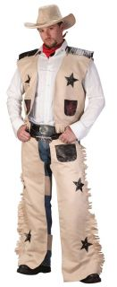 Mens Cowboy Halloween Costume Chaps Vest Hat Cow Boy Western Adult Man
