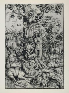 Adam Eve Apple Tree Serpent Cranach Woodcut ORIGINAL HISTORIC IMAGE