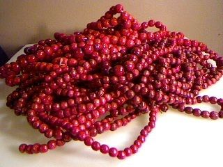 96 Feet Cranberry Red Wooden Beads Christmas Tree Garland