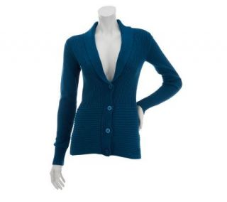 Liz Claiborne New York Mixed Rib Shawl Collar Cardigan —