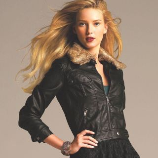 NWT Elle Faux Leather Bomber Jacket Black See Sizes $84