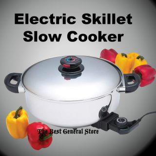 Steel Deep Round Electric Skillet Slow Cooker Fry Pan Frying