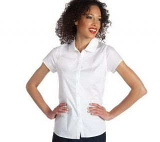 Isaac Mizrahi Live Short Sleeve Button Front Stretch Blouse