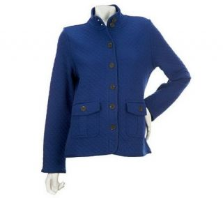 Isaac Mizrahi Live Quilted Button Front Jacket with Pockets   A216889