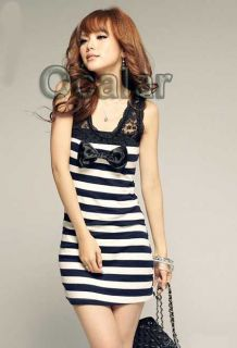 Sexy Stylish New Korea Womens Vintage Slim Lace Stripe Mini Dress