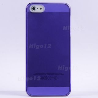 Purple Crystal Clear Transparent Hard Plastic Case Cover Fit for I