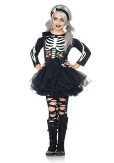 C48197 2pc Scary Skeleton Dress Cute Girls Kids Halloween Costume