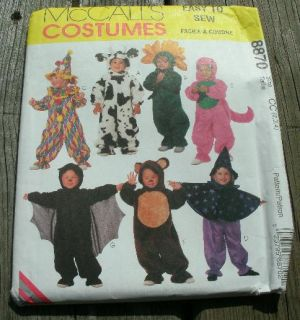 McCalls Sewing Pattern 8870 Toddler Costumes Clown Cow Bear Witch