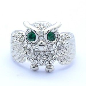 Crystals Clear Animal Cute Owl Cocktail Ring 8# W/ Green Eye