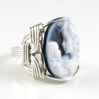 Mother Child Agate Cameo Ring Sterling Silver Custom Jewelry