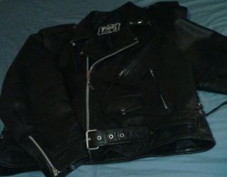 First Mens Leather Biker Jacket Size 54