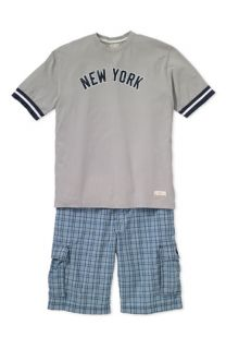 Red Jacket New York Yankees T Shirt & Canterbury of New Zealand Plaid Cargo Shorts