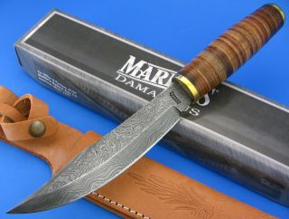 Marbles Damascus Blade Stacked Leather Handle Hunting Skinning Field