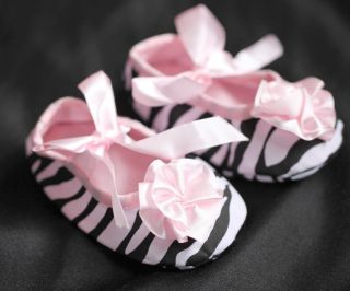 FREE POST NEW Soft Baby Girls Crib Shoes Zebra Print Pink Satin Tie 0