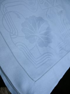 Superb Art Nouveau Dbl Damask Linen Tablecloth 110x54 w 11 Napkins 26