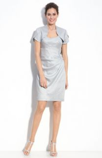Adrianna Papell Metallic Crepe Sheath Dress & Bolero