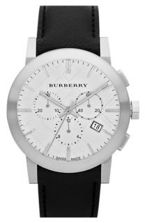 Burberry Check Stamped Round Chronograph Watch
