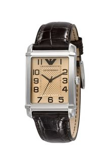 Emporio Armani Medium Rectangular Leather Strap Watch