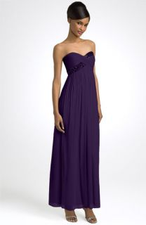 Maggy London Strapless Beaded Chiffon Empire Gown