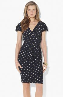 Lauren Ralph Lauren Polka Dot Flutter Sleeve Dress (Petite)