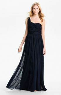 Adrianna Papell One Shoulder Embellished Bodice Pleated Gown