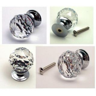 Large Rounded Clear Crystal Glass Drawer Pull Cabinet Knob NEW