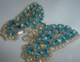 Brilliant Rhinestone Crystal Light Blue Butterfly Pin