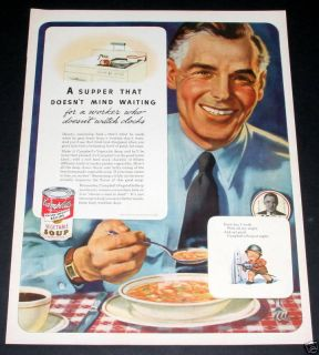 1943 OLD WWII MAGAZINE PRINT AD, CAMPBELLS SOUP, WARTIME WORKER ART