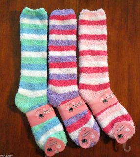 pairs Long Fuzzy Slipper Socks multi color stripes size 9 11 women